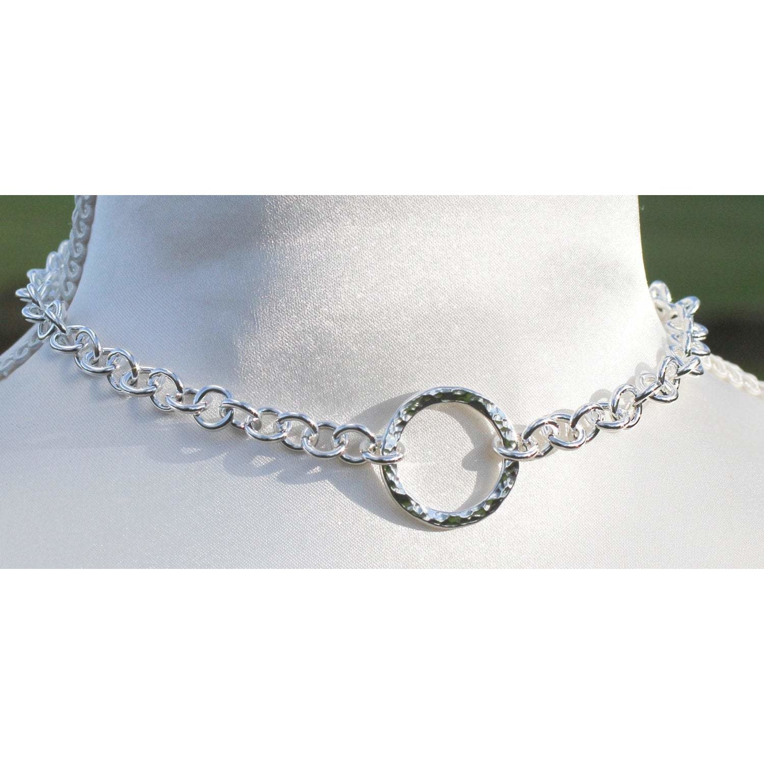 Sterling Silver, BDSM Style Day Collar.  Heavy Chain. Classic O Ring chain  BDSM collar, Chunky Hammered O ring, Handmade BDSM Collar.