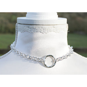 BDSM Style Day Collar, Sterling Silver Heavy Chain, Classic O Ring chain BDSM collar, Chunky Hammered O ring, Handmade BDSM Collar