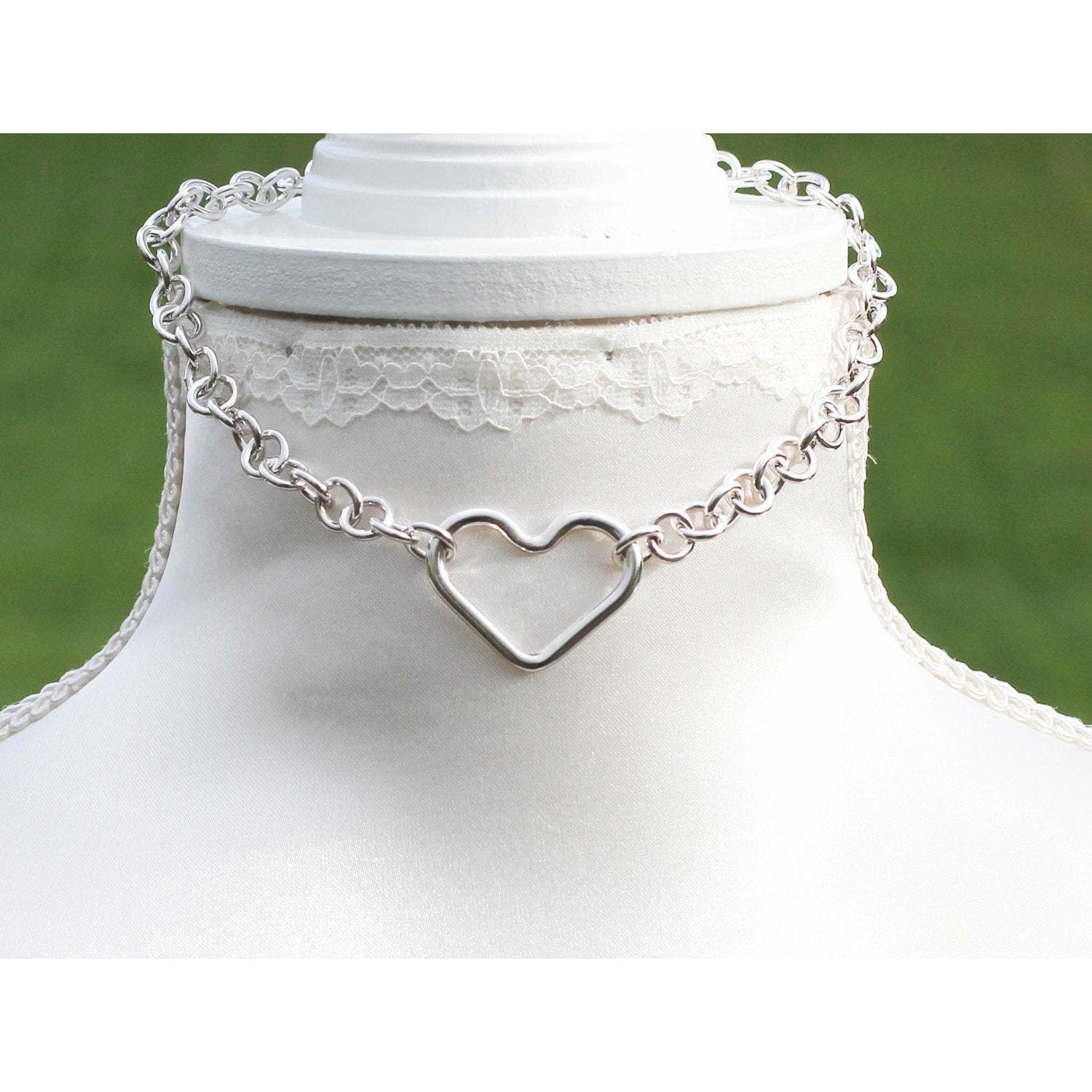 Sterling Silver Heart Shape O Ring Heavy Chain Day Collar