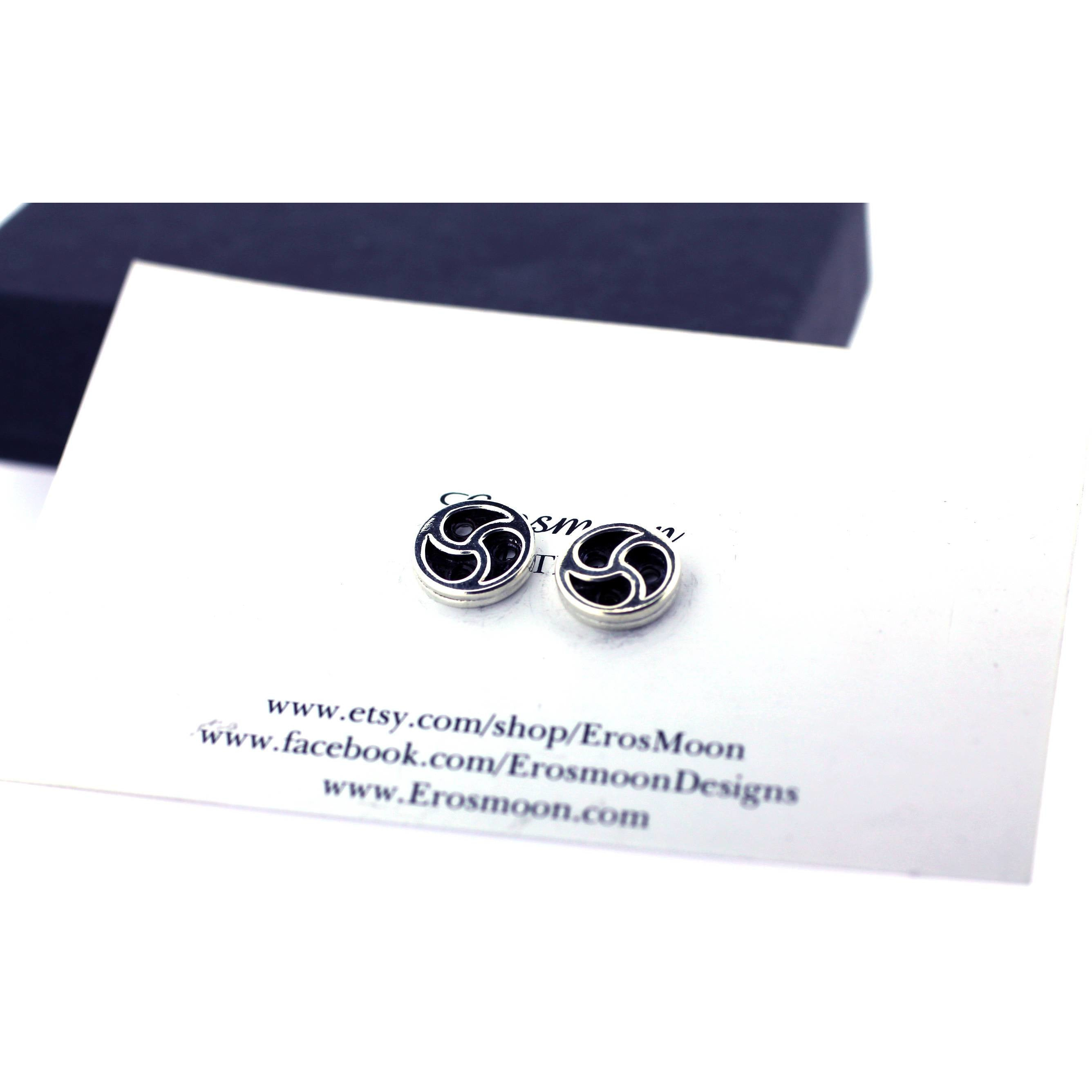 BDSM SYMBOL STUD EARRINGS STERLING SILVER HANDMADE 10mm