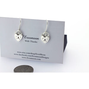 HEART PADLOCK EARRINGS BDSM HANGING EARRINGS, STERLING SILVER.