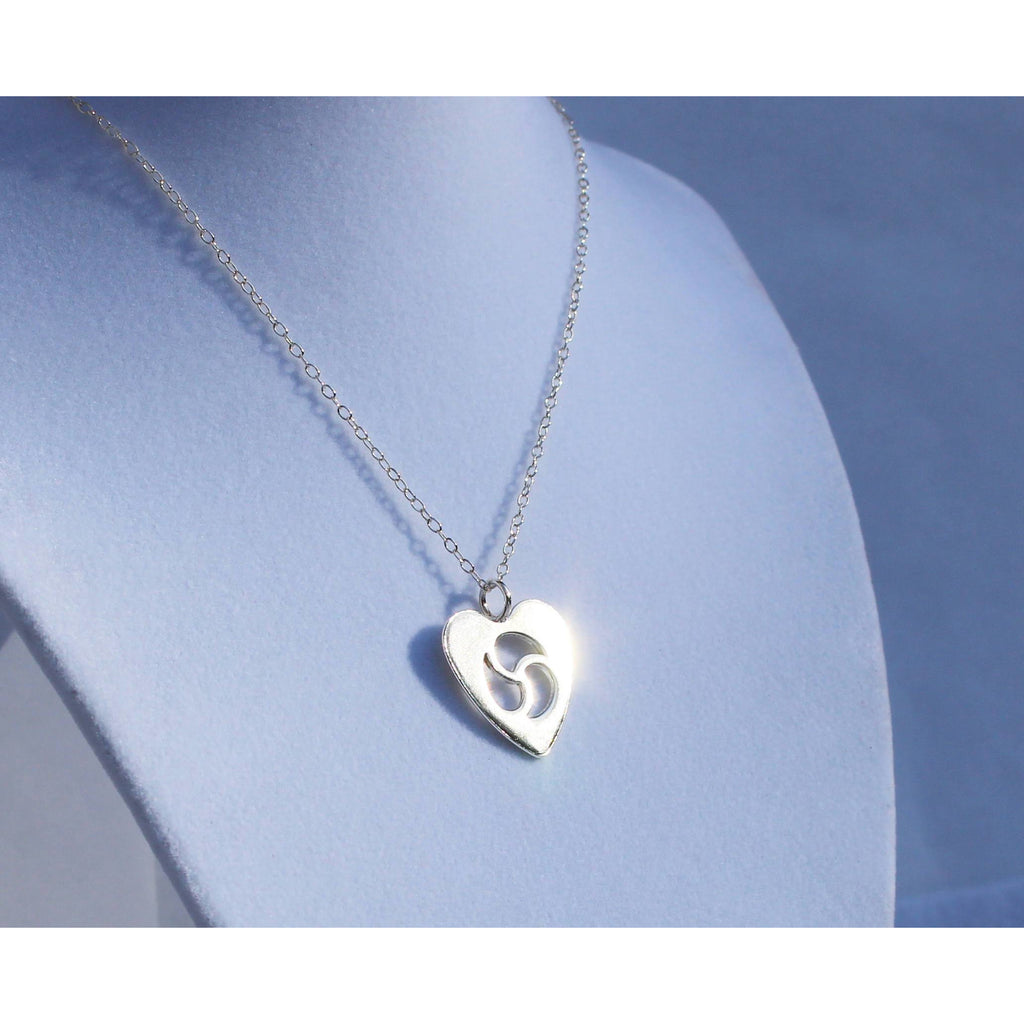 Sterling Silver, BDSM Jewelry, Submissive Little Necklace,  Heart,  BDSM Emblem Jewelry, Triskelionn, Triskele Jewelry, Handmade, Celtic