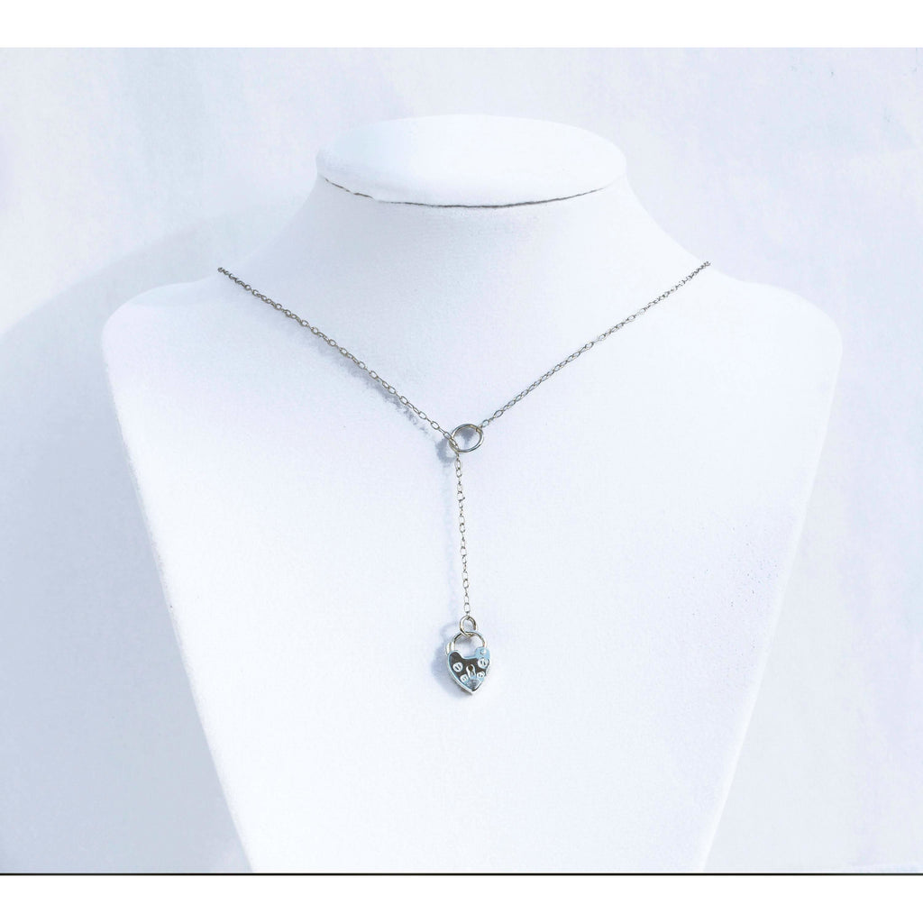 Sterling Silver, Lariat Discreet Day Collar,  Padlock and Chain, BDSM Discreet Symbol,Handmade , boxed and gift wrapped