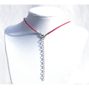 PINK LEATHER & STERLING SILVER KITTREN DAY COLLAR, WITH SILVER BELL, SMALL.