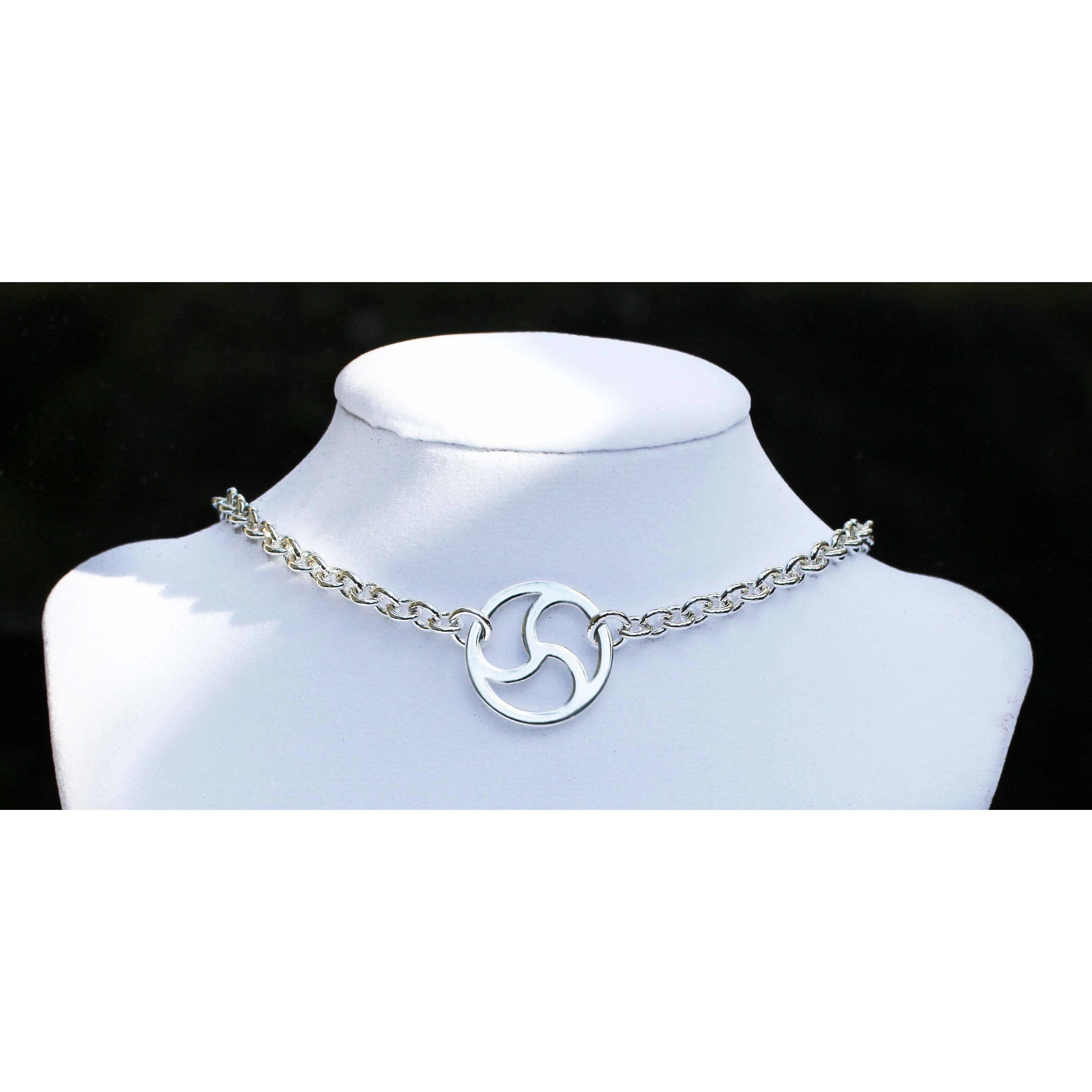 Sterling Silver, Discreet Day Collar, BDSM Symbol,, Heavy Chain, Choker Style, Handmade , boxed and gift wrapped