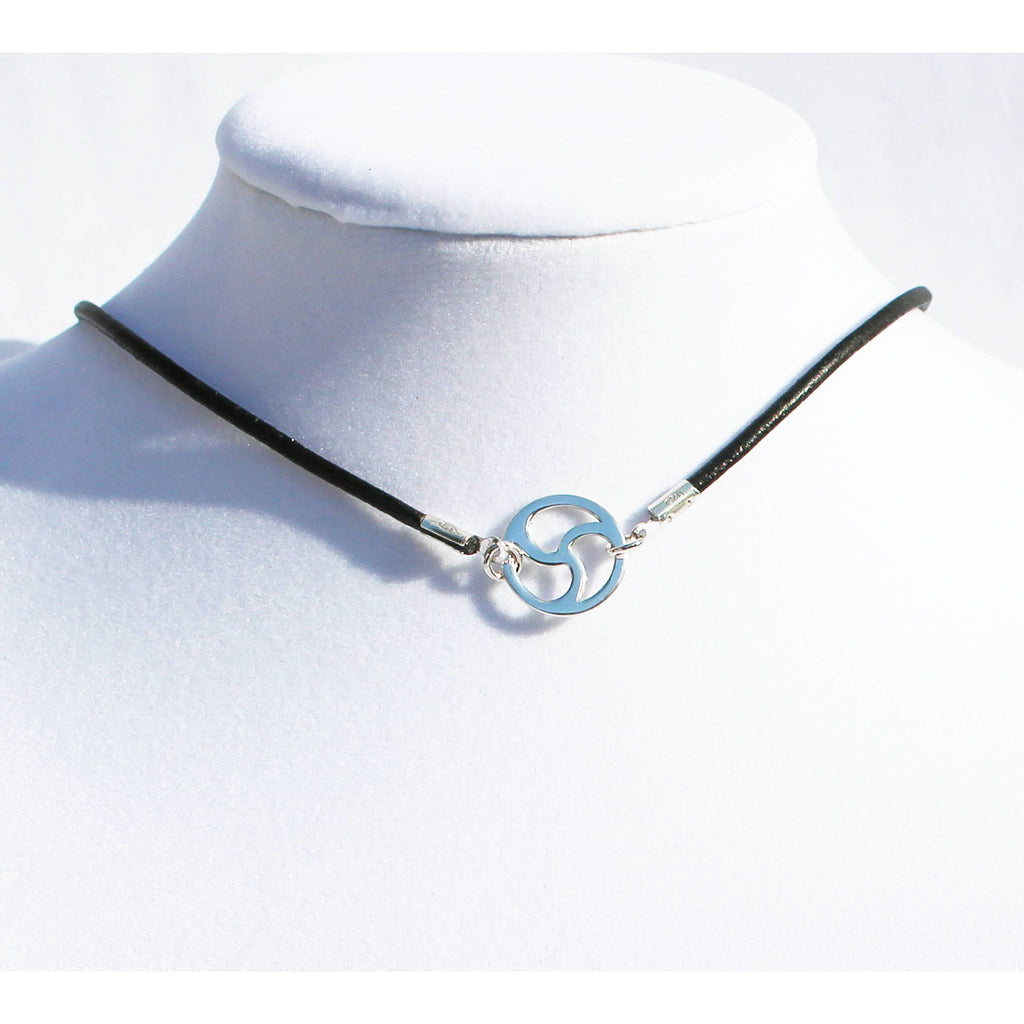 Leather & Sterling Silver Discreet BDSM Symbol Choker 15MM-Adjustable