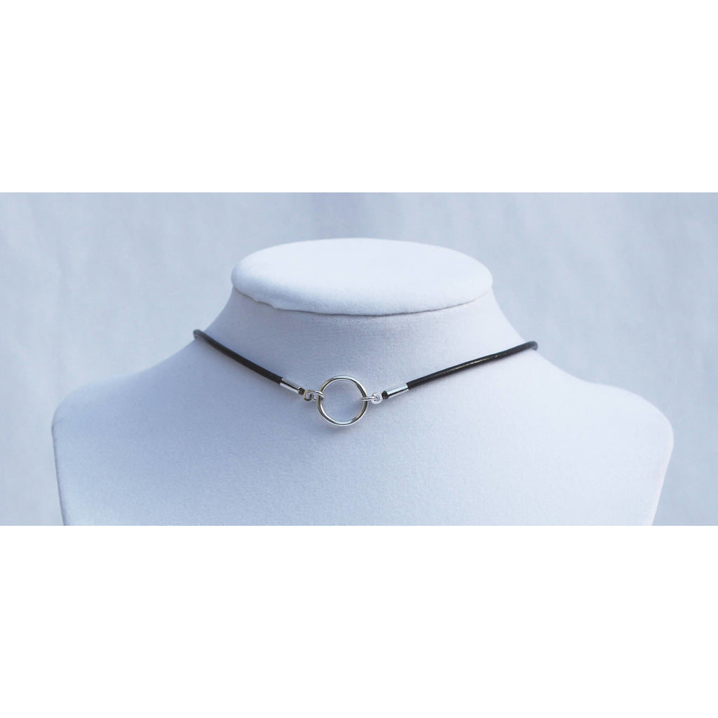 Discrete Day Collar choker, Sterling Silver O Ring, Leather Cord - Unisex-Day Collar, Public Collar,  Submissive Necklace