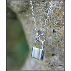 Day Collar, Sterling Silver, Padlock, and Chain, Silver Lock pendant, Unisex