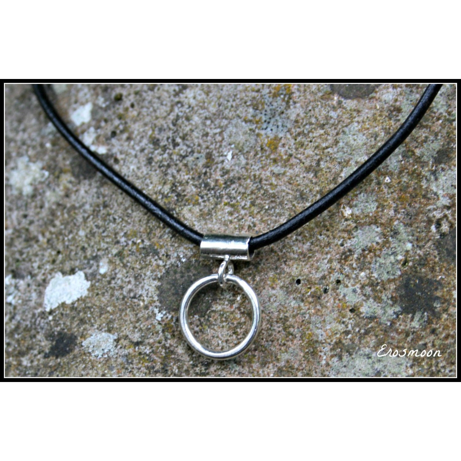 Very Discrete, Sterling Silver O Ring, Leather Cord - Unisex-Day Collar, Public Collar,  Submissive Necklace