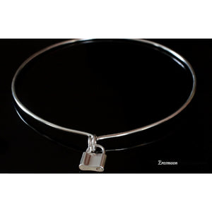DAY COLLAR CHOKER AND PADLOCK CLASP, STERLING SILVER.