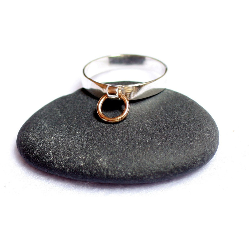 STORY OF O RING, Sterling Silver with a 9K Gold O ring. Handmade in your size.