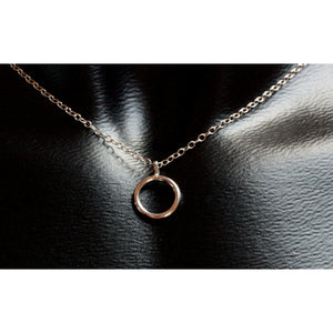 Day Collar, Discreet Petite Necklace - Sterling Silver - Silver O Ring  - Unisex- Handmade