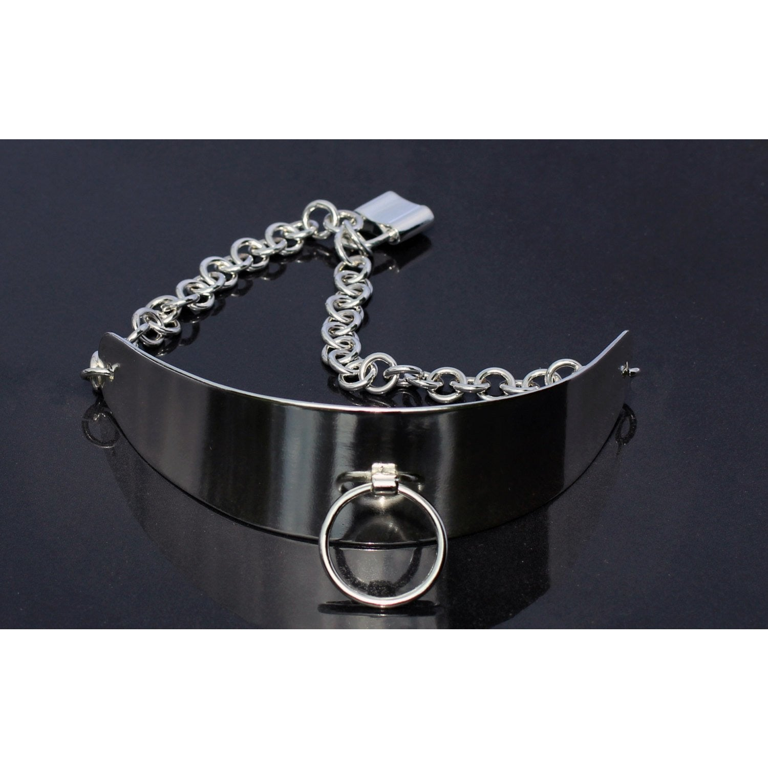 Sterling Silver Collar-BDSM Semi Posture Style-Wide Adjustable Collar-Padlock Clasp
