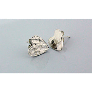 BEATEN HEART SYMBOLIC BDSM STUD EARRINGS, STERLING SILVER.