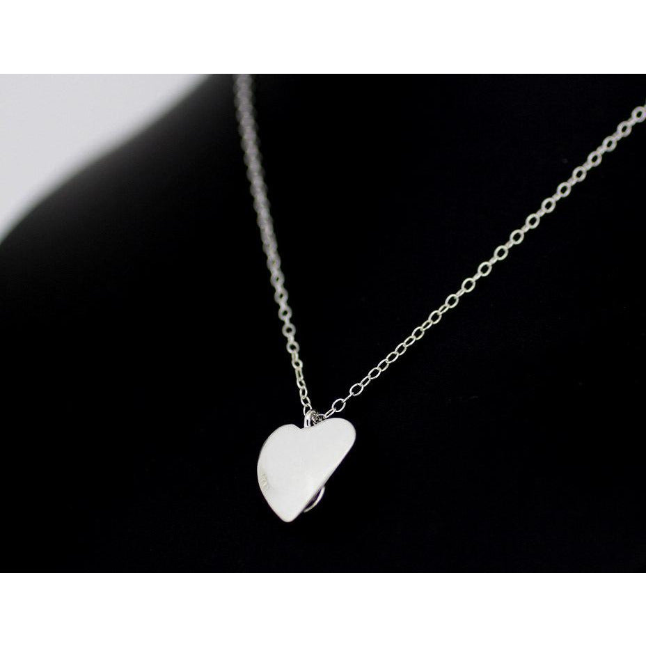 Discrete Day Collar-Sterling Silver, Unique Heart and O Ring- Silver O Ring, Unisex, Reversable