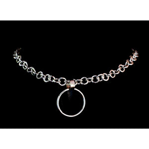 Sterling silver heavy chain collar choker necklace with silver O Ring. Made to order.