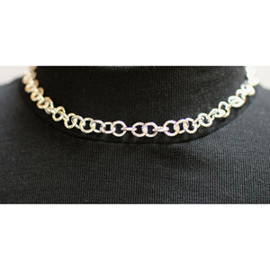 Discreet BDSM Day Collar, Removable O'Ring, Sterling Silver Heavy Chain Collar Choker Necklace with silver O Ring. Made to order.