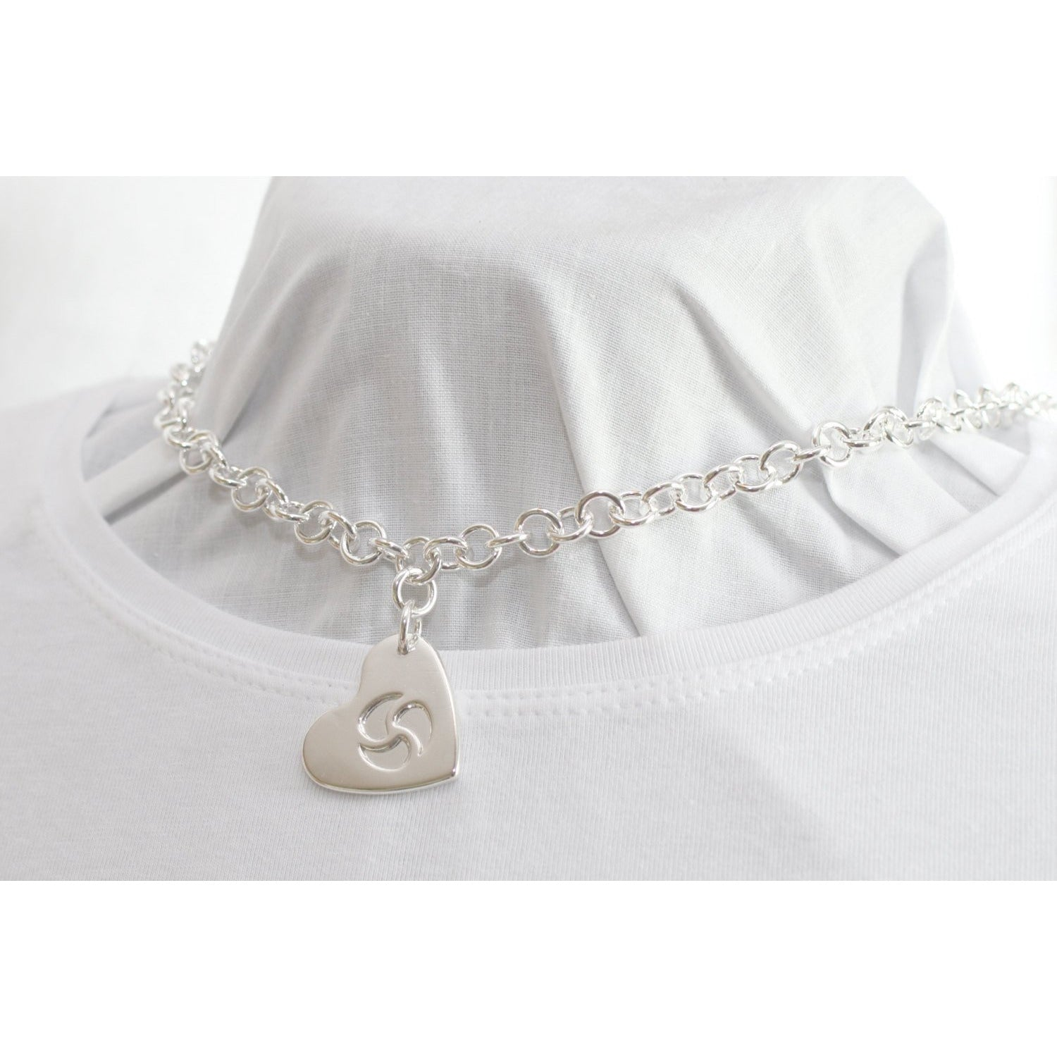 Discreet BDSM Heart, Hidden Triskelion pendant, Day Collar, Sterling Silver Heavy Chain Collar Choker Necklace  Made to order