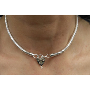 Discreet Day Collar, 5mm thick, heavy sterling silver Snake Chain, Vintage shaped Heart Padlock clasp,  Handmade BDSM Collar