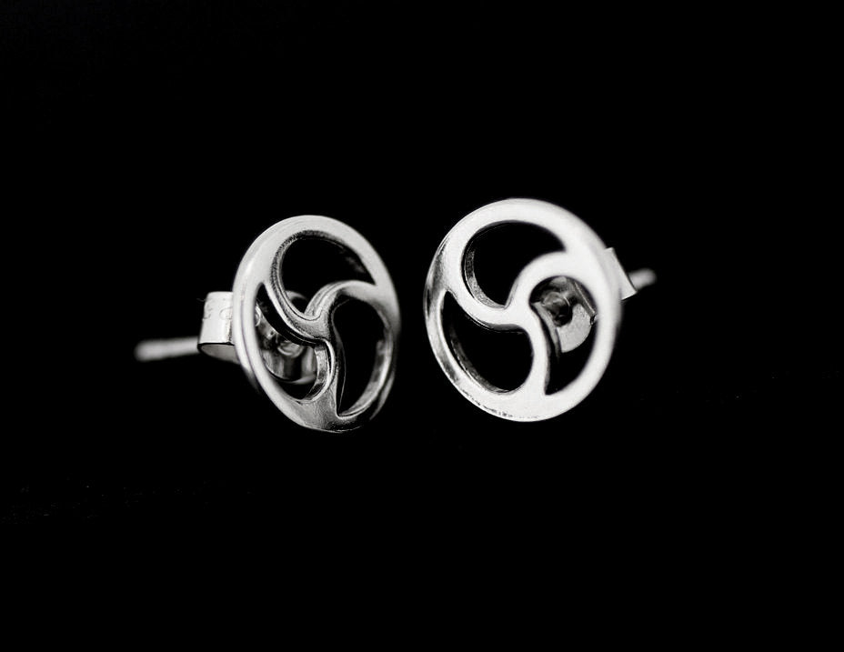 BDSM SYMBOL DISCREET TRISKELE STUD EARRINGS STERLING SILVER.