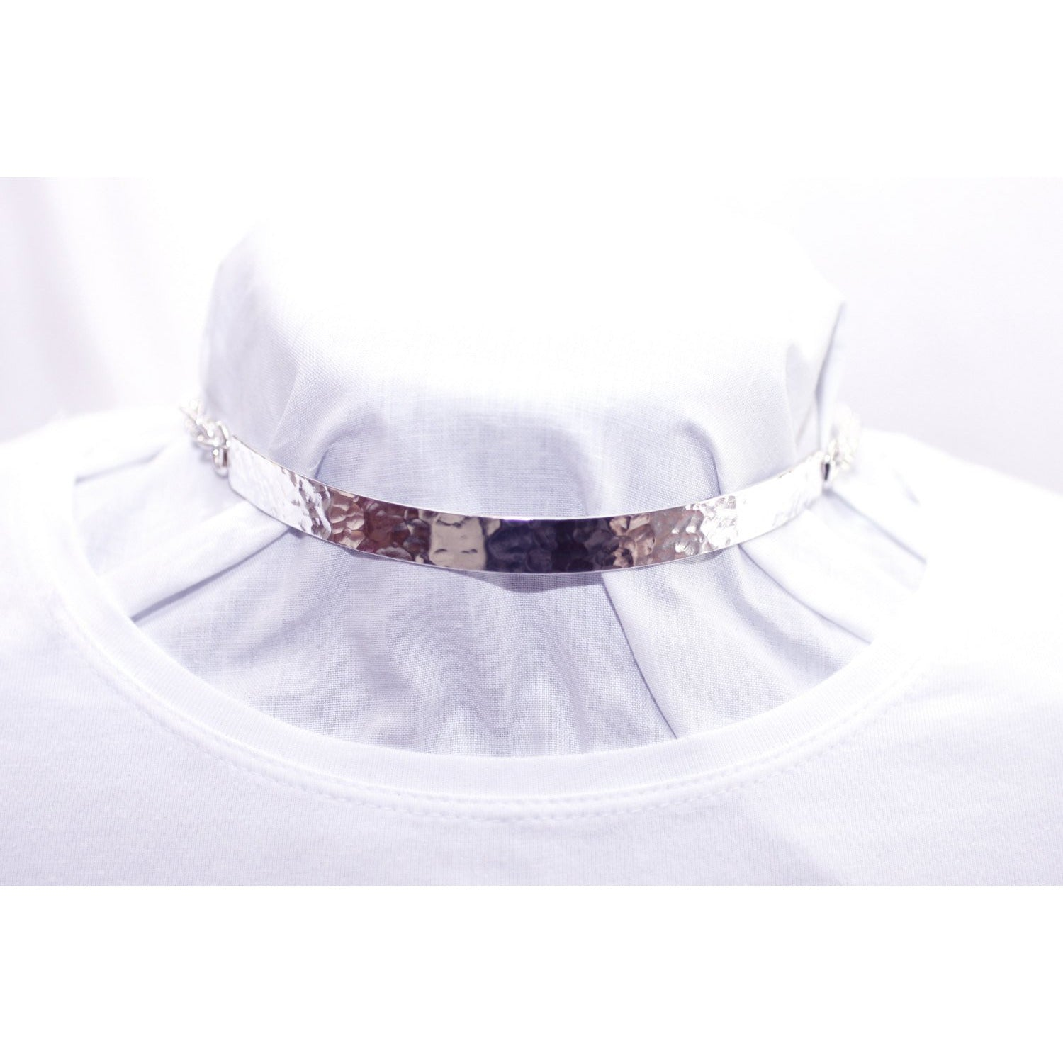 Sterling Silver-10mm, Wide-Hammered Effect Choker – Day-Collar-Bondage / BDSM Collar-Half Solid/Half Chain.