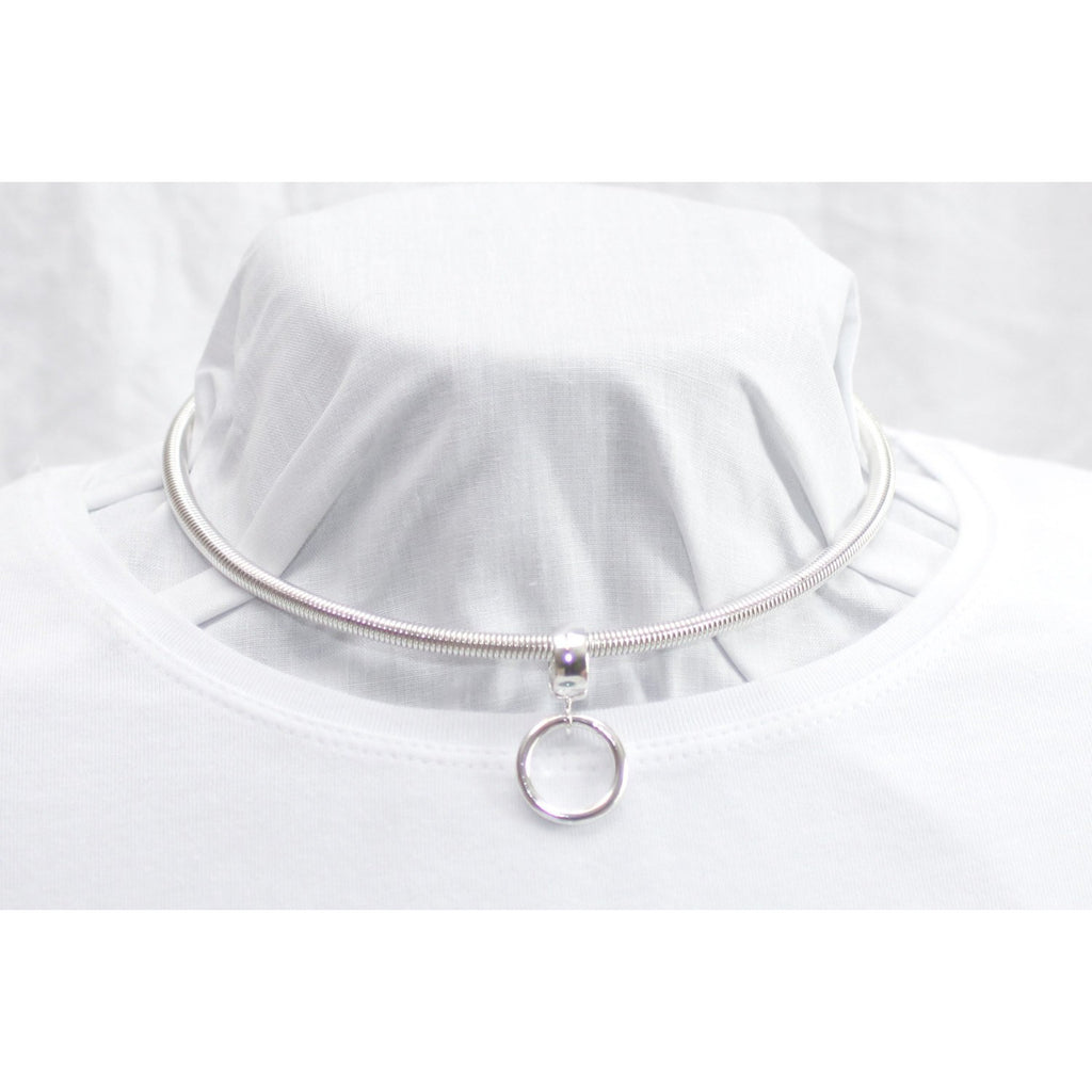BDSM Submissive Day Collar, Detachable Sterling Silver O Ring Choker Necklace with Padlock Clasp.
