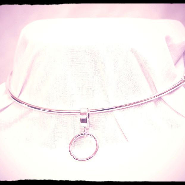 Discreet Day Collar, Removable Sterling O ring, 3mm Sterling Silver (8g), Chain Back Section, Handmade, BDSM Collar