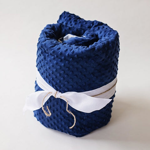 Navy Blue Minky Dot Weighted Blanket