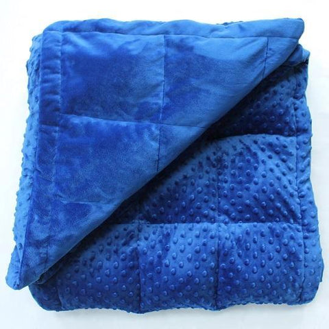 Royal Blue Minky Dot and Smooth Minky Weighted Blanket