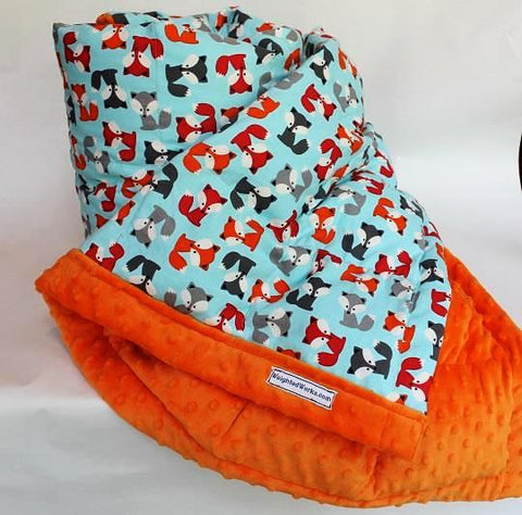 Foxes Weighted Blanket with Orange Minky