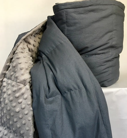 Large (6ft) Charcoal Cotton and Light Grey Minky Dot