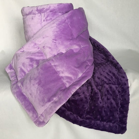 Medium 8lb Purple and Lilac Minky Blanket