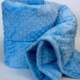 Sky Blue Minky Dot Weighted Blanket