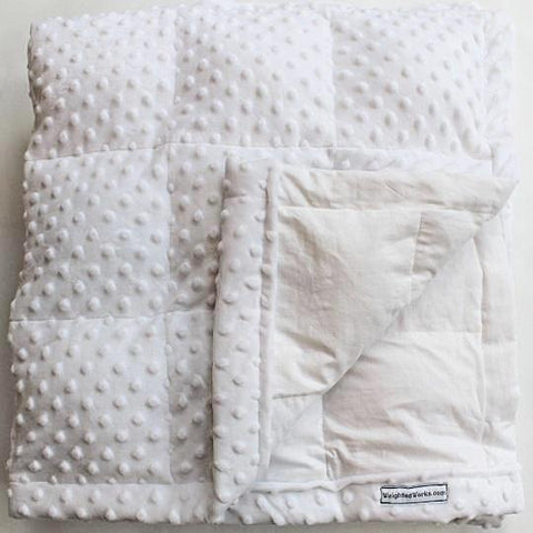 White Weighted Blanket with Snow Minky Dot