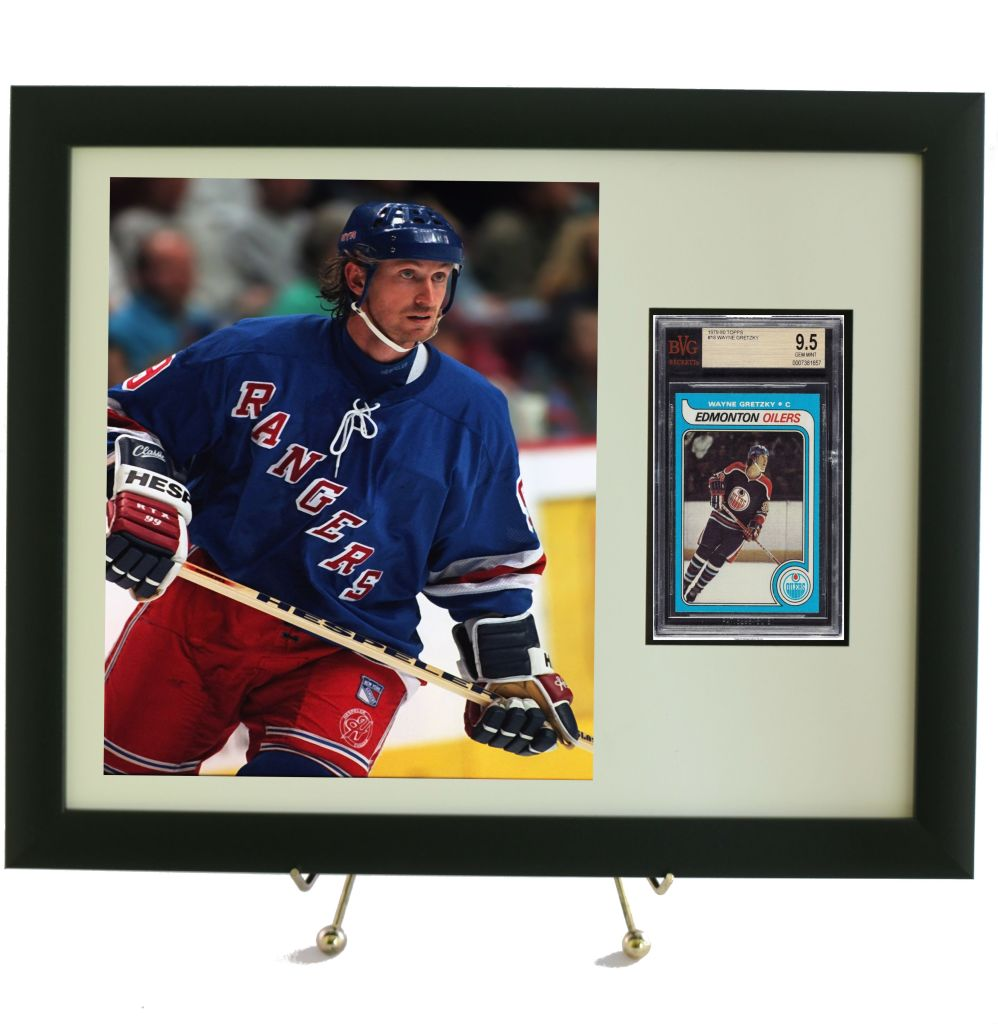Sports Card Frame Display For A Bvg Beckett Graded Vertical Card With An 8 X 10 Vertical Photo Opening