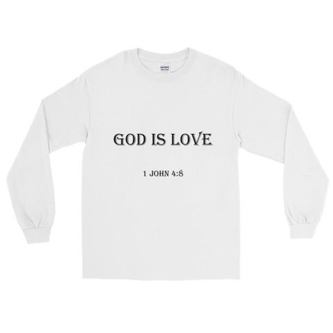1 John 4:8 Men Long Sleeve White
