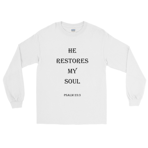 Psalm 23:3 Men Long Sleeve White