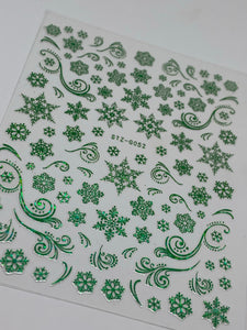 Holographic Christmas Sticker Sheet (Green)