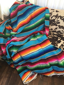 Large Serape Blanket (Turquoise/Orange/Blue/Pink)