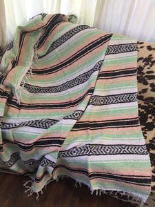 Serape Blanket (Mint/Black/Pink/White)