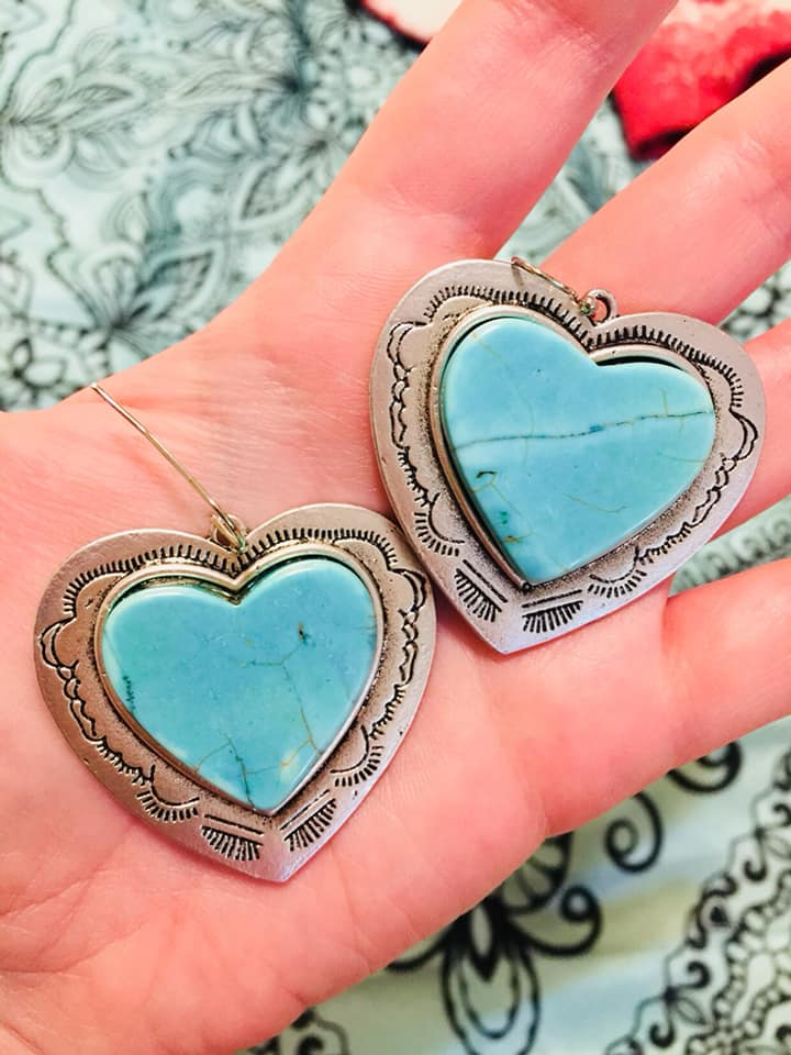 Maybe It Was Memphis Turquoise Heart Earrings