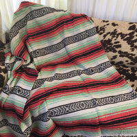 Serape Blanket (Mint/Black/Coral/White)