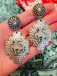 Buckin' Bronc Silver Earrings