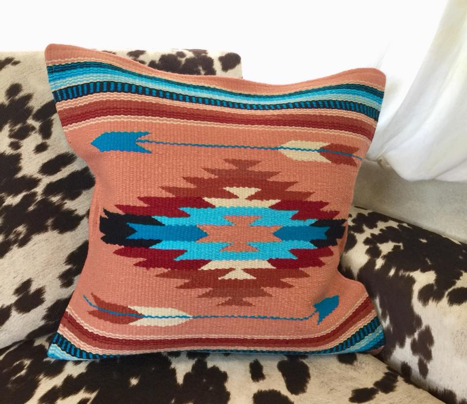 Serape Pillow Cover (Coral, Burgundy, Blue)