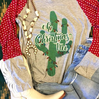 The Cactus Christmas Tree Top W/ Polka Dot Sleeves