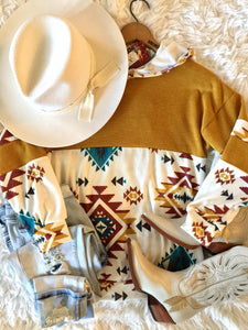 The Amarillo Aztec Southwest Hoodie Top (Mustard)