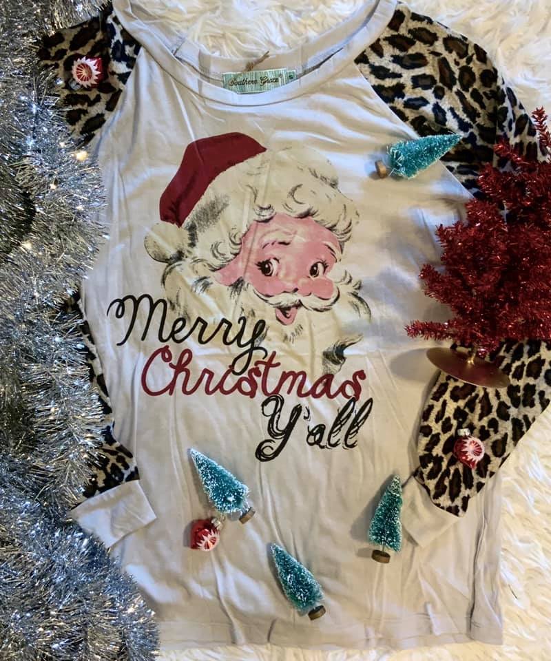 The Vintage Santa Claus Merry Christmas Y'all Long Sleeved Top