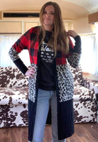 Talk Plaid To Me Cardigan (Leopard, Plaid, Black) S-3XL