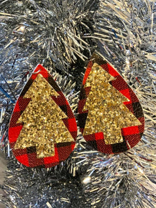 Rockin' Around The Christmas Tree Sparkle Plaid Earrings