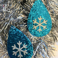 The Night Before Christmas Turquoise Snowflake Sparkle Earrings